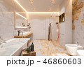 Interior design of a bathroom, 3d illustration in a Scandinavian style 46860603