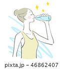 水 飲む 女性のイラスト 46862407