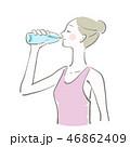 水 飲む 女性のイラスト 46862409