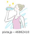 水 飲む 女性のイラスト 46862410
