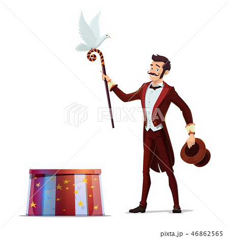 Magician or illusionist with hat, magic wand, dove 46862565