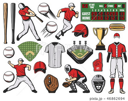 Baseball sport ball, bat and player. Softball game 46862694