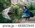 女性 森林 林の写真 46863949