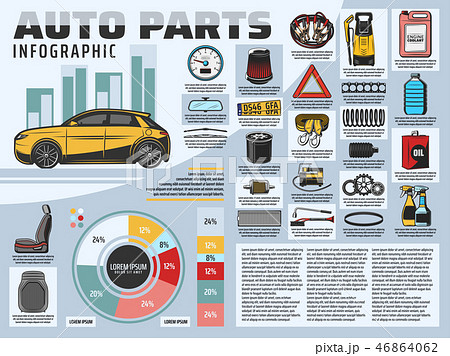 Car repair service infographics with auto parts 46864062