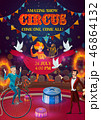 Circus magician, clown, acrobat, jugglers on arena 46864132