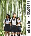 ガイドブックを開きながら歩く三人の女子高生 46865481