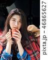 女性 アジア人 飲み物の写真 46865627