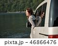 女性 旅行 湖の写真 46866476