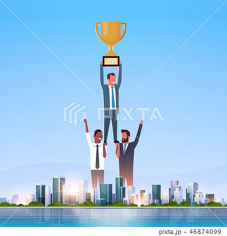 successful businessmen group holding golden cup firs place victory concept successful teamwork over 46874099
