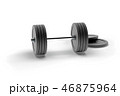 3d rendering dumbbell isolated on white, closeup, for fitness or weight related themes 46875964