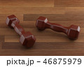 3d rendering dumbbell on the wooden floor, closeup, for fitness or weight related themes 46875979