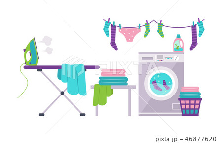 Laundry room with washing machine, ironing board, clothes rack, basket vector Illustration 46877620
