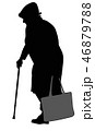Silhouette of an elderly woman with a cane 46879788