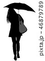 Silhouette of a woman with an umbrella 46879789