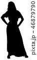 Silhouette of a girl in a long dress 46879790
