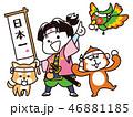 桃太郎とお供の犬・猿・雉 46881185