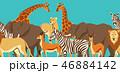 動物 サバンナ きりんのイラスト 46884142