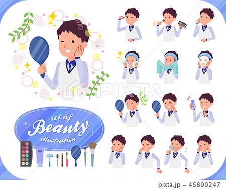 flat type Store staff Blue uniform men_beauty 46890247