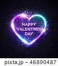 ネオン バレンタイン ハートのイラスト 46890487