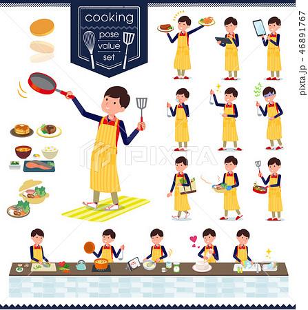 flat type Store staff red uniform men_cooking 46891767