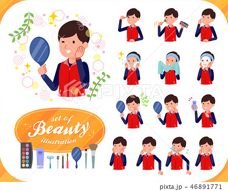 flat type Store staff red uniform men_beauty 46891771