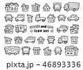車と家のアイコンセット(手書風線画のみ)上弦バージョン 46893336