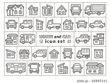 車と家のアイコンセット(手書風線画のみ) 46893341