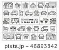 車と家のアイコンセット(線画のみ) 46893342