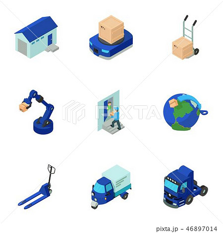 Postal employee icons set, isometric style 46897014
