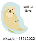 Cute funny otter floating in river and funny text 46912022