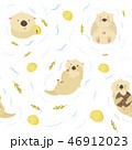Seamless pattern with cute swimming otters 46912023