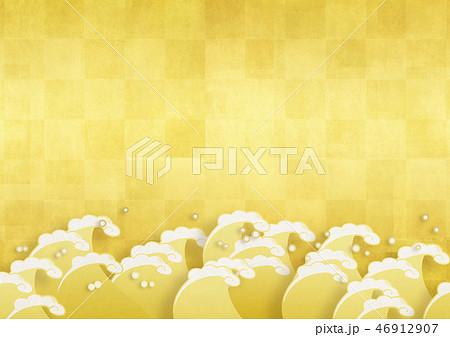 和紙の風合いを感じるイラスト 金色に輝く 46912907