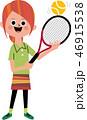 テニス 女子 ラケットのイラスト 46915538