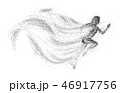 Black silhouette of running woman from particle divergent. 46917756