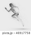 Black silhouette of running woman from particle divergent. 46917758