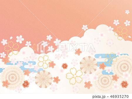 背景素材-サクラ(雲,エ霞,蝶なし)2テク 46935270