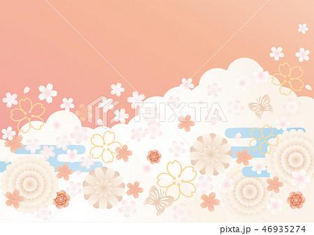 背景素材-サクラ(雲,エ霞,蝶)2 46935274