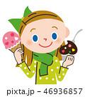 アイスのカップとコーンを両方持つ少女 46936857