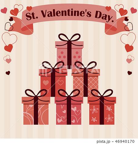 バレンタイン 2つ結びのリボン6種の箱 ベージュ背景 46940170