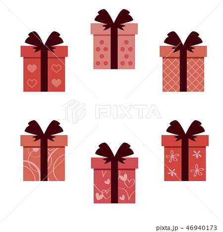 バレンタイン 太い4つ結びのリボン6種の箱 46940173