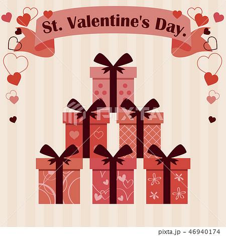 バレンタイン 太い2つ結びのリボン6種の箱 ベージュ背景 46940174