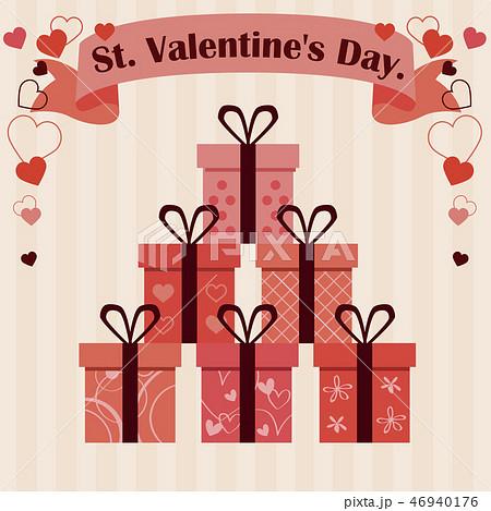 バレンタイン 細い2つ結びのリボン6種の箱 ベージュ背景 46940176
