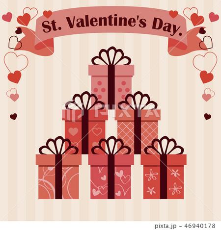 バレンタイン 細い5つ結びのリボン6種の箱 ベージュ背景 46940178