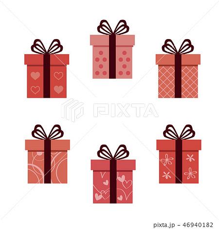 バレンタイン 細い4つ結びのリボン6種の箱 46940182