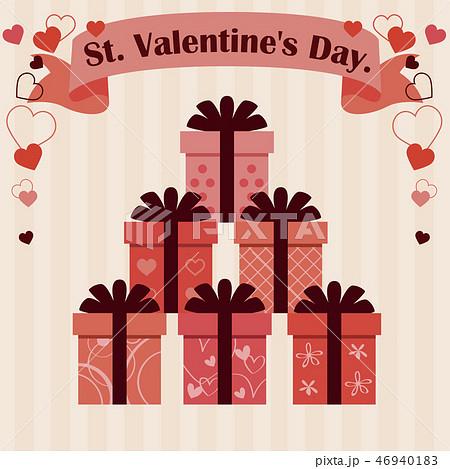 バレンタイン 太い5つ結びのリボン6種の箱 ベージュ背景 46940183