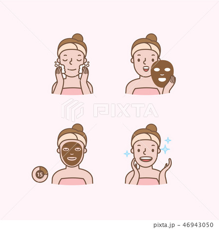 Step of face masking half body ico vector 46943050