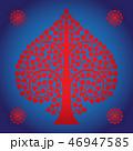 Thai Art Bodhi Tree on Blue Background 46947585