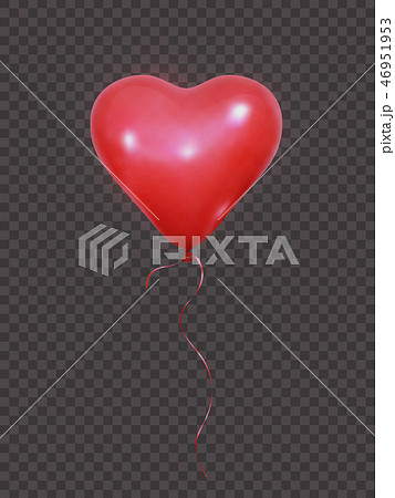Heart balloon. Realistic red balloon with ribbon. Valentines Day balloon decoration 46951953