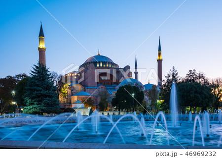 Hagia Sofia at twilight in Istanbul, Turkey 46969232