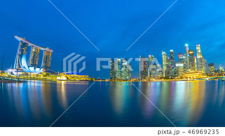 Panorama view of Singapore city skyline 46969235